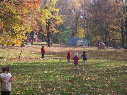 kids at play in fall